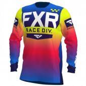FXR Helium MX Cross Shirt Koraal/Gebleekte Blauw/Fluo Geel