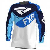 FXR Podium Air MX Jersey White/Navy/Blue