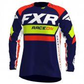 FXR Revo MX Cross Shirt Donker Blauw/Fluo Geel/Fluo Rood Rood