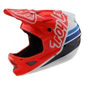 Troy Lee Designs D3 Helmet Fiberlite Silhouette Red White - XS
